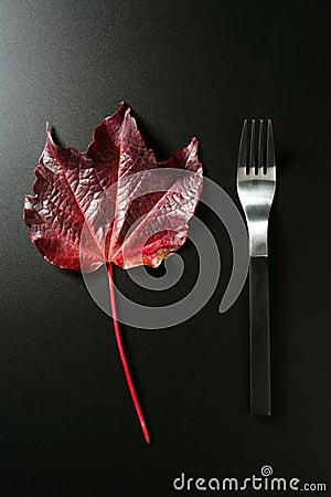 Metafoor, gezonde dieet lage calorieën, een blad