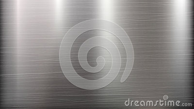Metal Abstract Technology Background. Polished, Brushed Texture. Chrome, Silver, Steel, Aluminum. Vector illustration. Vector Illustration
