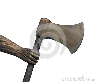 Metal arm and hand holding axe isolated.
