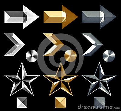 Metal Arrow Symbol Icons Silver Gold