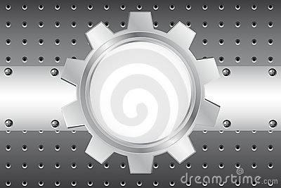 Metal background with cogwheel