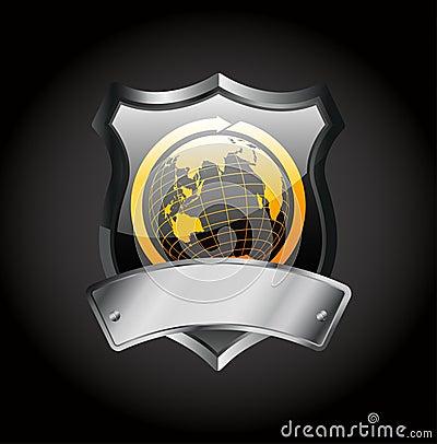 Metal badge -globe sign