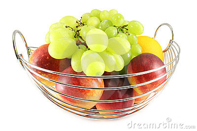 The metal basket with fruit