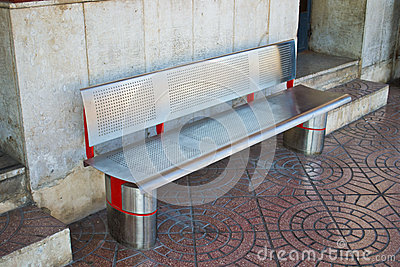 Metal Bench in a station
