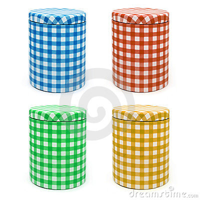 Metal box gingham printed x 4 (isolated)