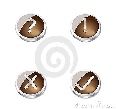 Metal brown buttons or icons