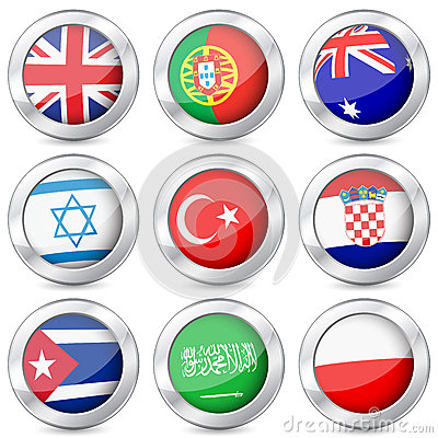 Metal button national flag