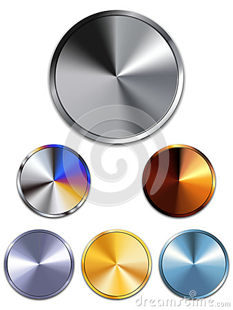 Metal Buttons. Silver, Gold, Copper