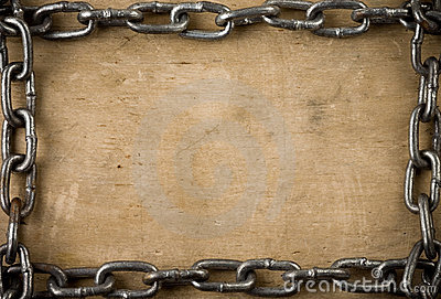 Metal chain on old wood texture