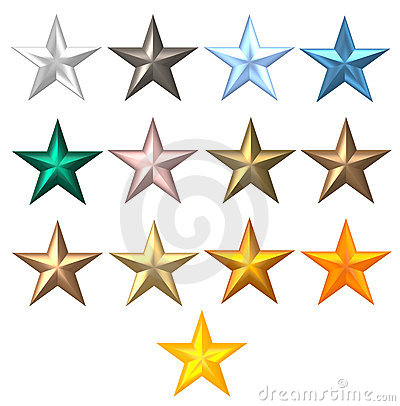 Metal colourful 5-ray stars
