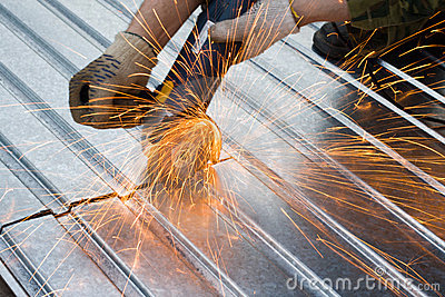 Metal cutting sparks