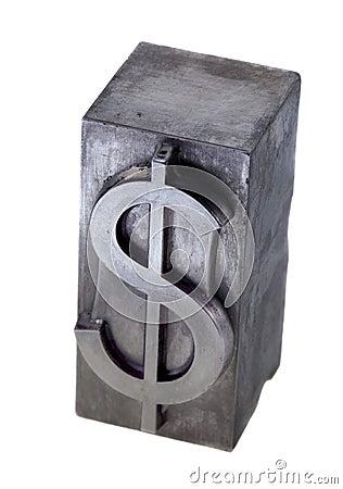 Metal dollar symbol