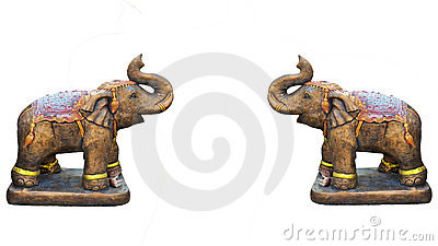 Metal elephant isolated on white