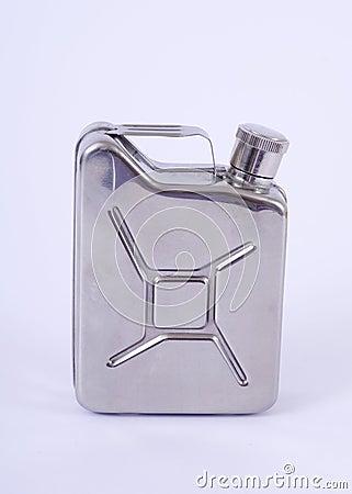 Metal flask.