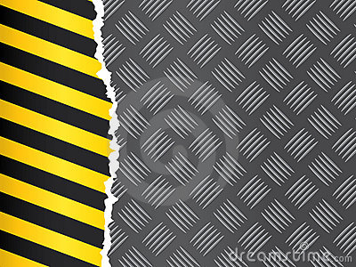 Metal Floor With Hazard Tape Royalty Free Stock Photo