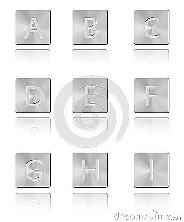 Metal font Button A - I