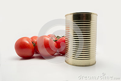 Metal food container with vine tomatoes