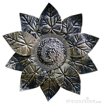 Metal forged isolated sunflower