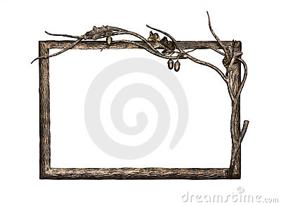 Metal frame with oak ornament