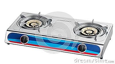 A metal gas stove