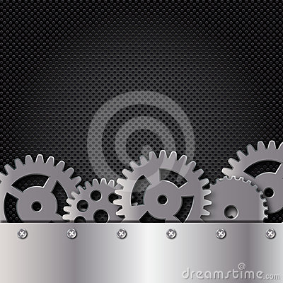 Metal and glass background with frame and gears