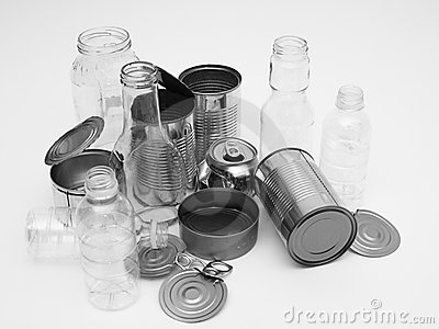 metal glass and plastic containers for recycling stock
