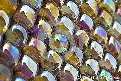 Metal glazed glass mosaic