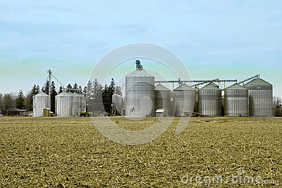 Metal grain facility on a farm