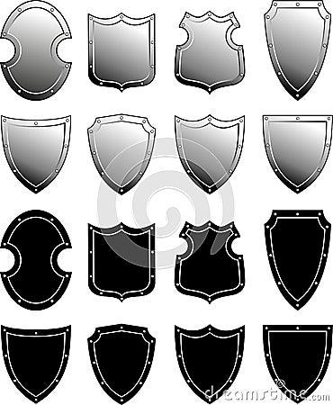 Metal heraldic shield set