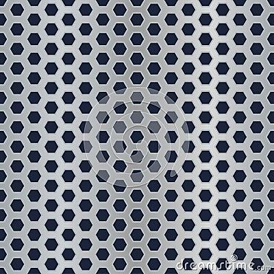 Metal hexagon perforated texture