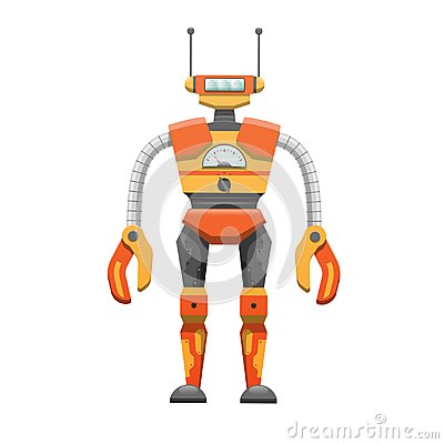 Free Metal Humanoid Robot With Antennae Illustration Royalty Free Stock Images - 102937359