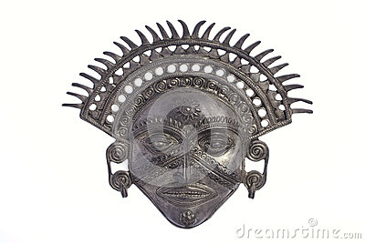 Metal Inca Sun God Mask