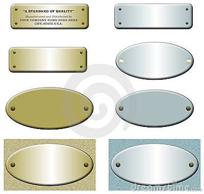 Metal labels with rivets, gold and blue