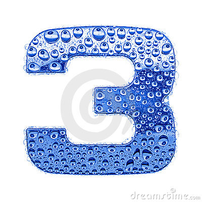 Metal letter & water drops - digit 3