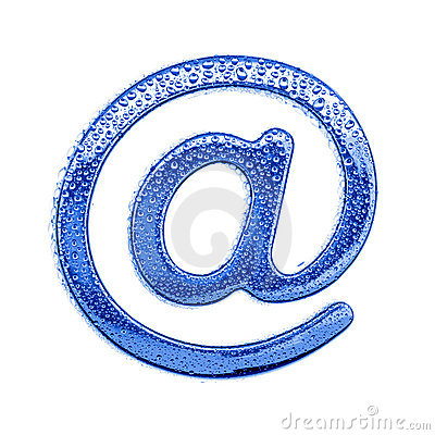 Metal letter & water drops - email symbol