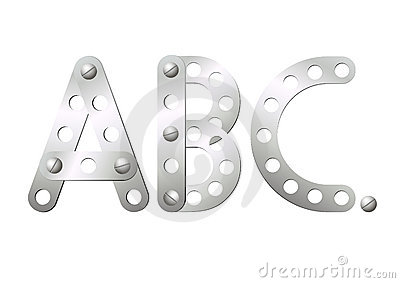 Metal letters A, B, C