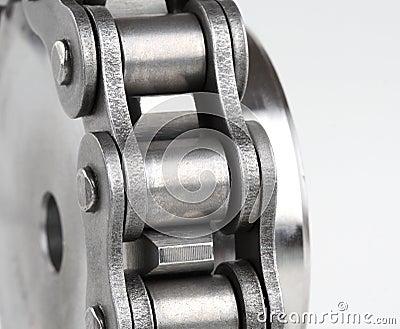 Metal link chain and cogwheel