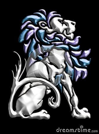 Metal lion motif