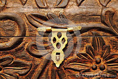 Metal Lock on  wooden chest
