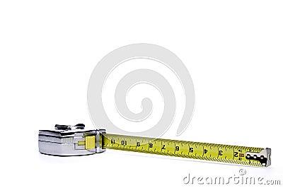 A metal locking tape measure
