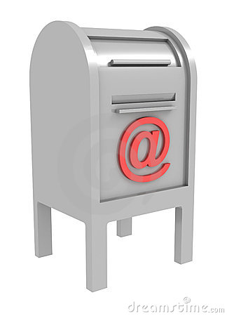 Metal mail box with e-mail sign