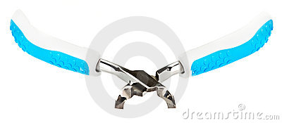 Metal manicure nippers with blue plastic handles