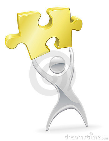 Metal mascot holding up a jigsaw puzzle piece