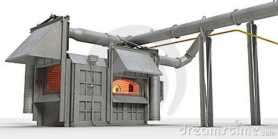 Metal melting furnace on white background