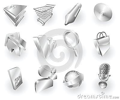 Metal metallic web and application icon set
