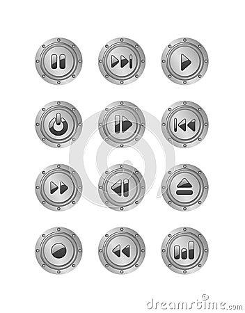 Metal music buttons set 2