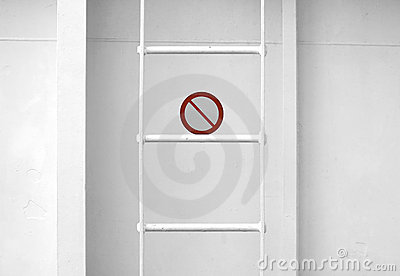 Metal naval ladder ith prohibitory sign