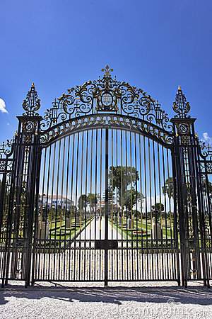 The metal openwork gate