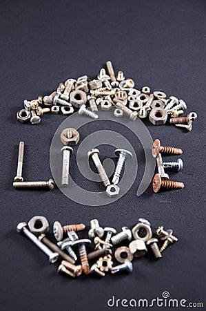 Metal parts and screws