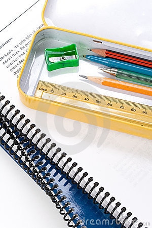 Metal pencil case and textbook